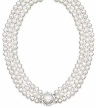 Bloomingdale's Cultured Freshwater Pearl Necklace with Diamond Accents, 16""