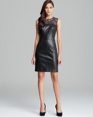 Cynthia Steffe Lace Illusion Neckline Faux Leather Shift Dress - Talia