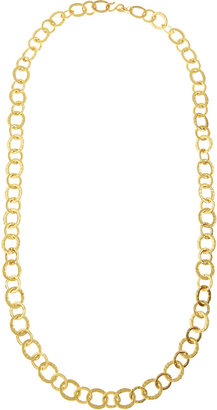 Kenneth Jay Lane Hammered-Circle Link Necklace, Gold