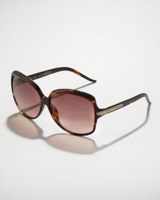 Just Cavalli Python-Etched Sunglasses, Tortoise