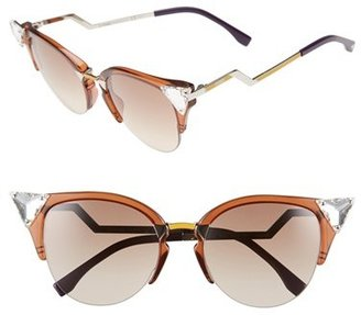 Fendi Crystal 52mm Tipped Cat Eye Sunglasses $505 thestylecure.com
