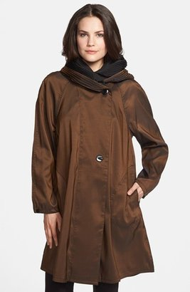 Women's Mycra Pac Designer Wear Reversible Pleat Hood Packable Travel Coat $238 thestylecure.com