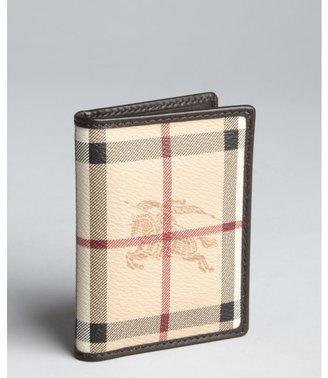 Burberry chocolate haymarket check bi-fold id holder