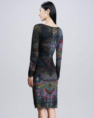 David Meister Jersey Printed Long-Sleeve Dress, Multi