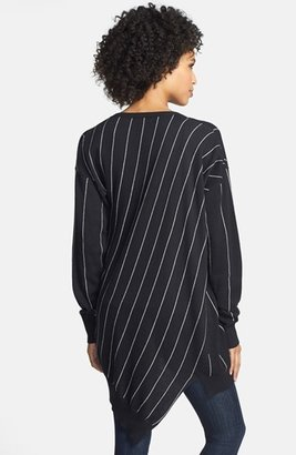 Vince Camuto Pinstripe Oversize V-Neck Sweater
