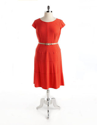 Anne Klein Plus Plus Belted Polka Dot Panel Dress