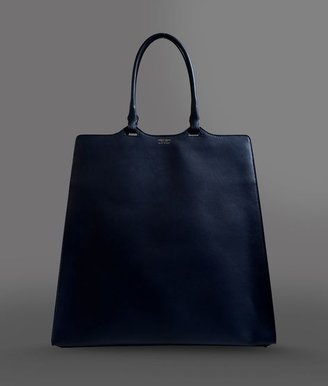 Giorgio Armani Large Two-Handle Shopping Bag In Calfskin