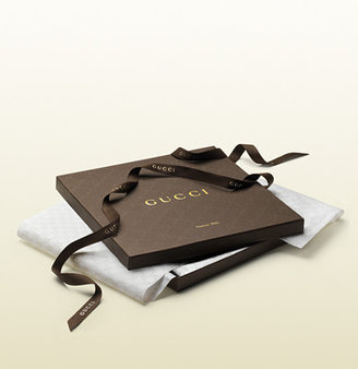 Gucci GG pattern carré with script and web detail.