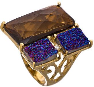 Andara Smoky and Blue Block Symmetrical Ring