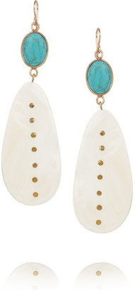 Ashley Pittman Mtango gold-tone, horn and turquoise earrings