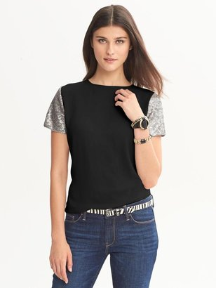 Banana Republic Heritage Sequin-Sleeve Top