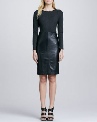 Trina Turk Sutherland Leather-Skirt Dress