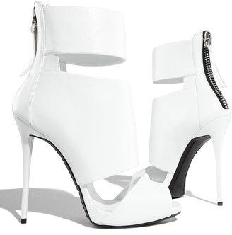 Giuseppe Zanotti High-Heel Banded Peep-Toe Cage Bootie, White