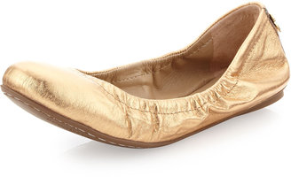 BCBGMAXAZRIA Molly Metallic Flat, Gold Dust