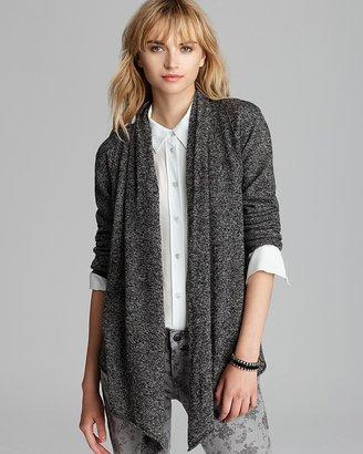 Aqua Cashmere Sweater - Drape Front Exposed Seam Cardigan