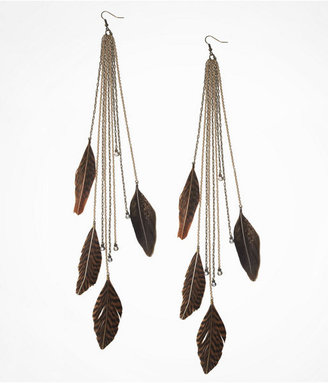 Express Long Feather Chain Fringe Earrings