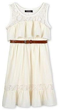 My Michelle Crochet-Trimmed Gauze Dress - Girls 7-16