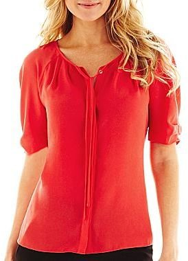 JCPenney Worthington® Elbow-Sleeve Tie-Neck Crepe Blouse