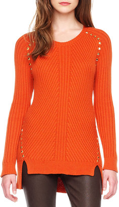 MICHAEL Michael Kors Stud-Trim Ribbed Sweater