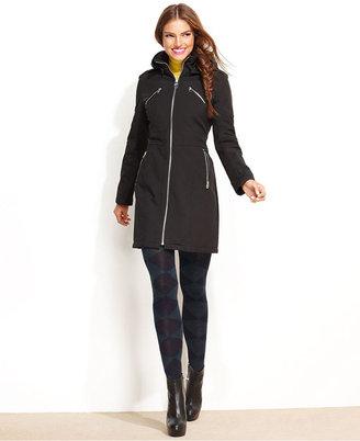 Miss Sixty Coat, Hooded Knit-Trim Multi-Zipper