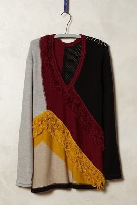 Tracy Reese Fringed Colorblock Pullover