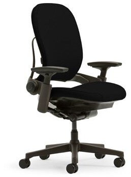 Steelcase LeapA Task Chair Upholstery: Buzz2 - Black, Frame Finish: Black, Arms: Height, Width, Pivot and Depth Adjustable, Casters: Hard Floor Caste