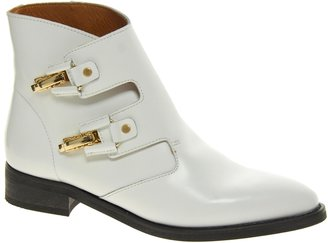 Miista Pandora White Buckle Boots