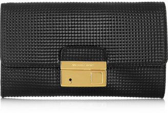Michael Kors Gia embossed glossed-leather clutch