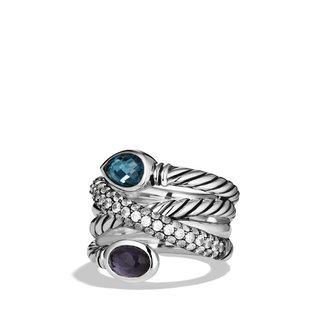David Yurman Ultramarine Crossover Ring with Hampton Blue Topaz, Black Orchid, and Gray Sapphires