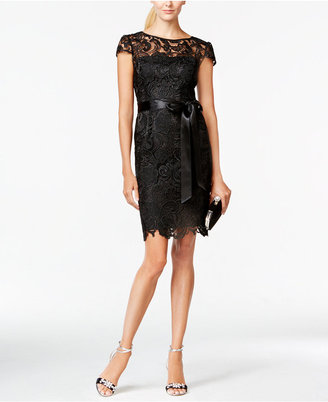 Adrianna Papell Lace Cap-Sleeve Illusion Sheath Dress $189 thestylecure.com