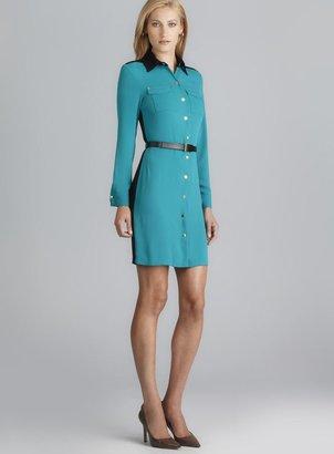 Calvin Klein Long Sleeve Colorblock Belted Shirtdress
