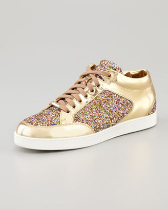 Jimmy Choo Miami Low-Top Glitter Sneaker, Gold