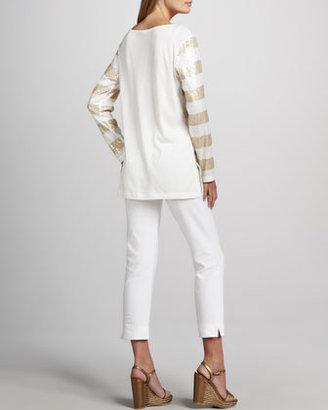 Joan Vass Ponte Slim Ankle Pants, Women's
