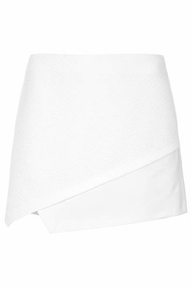 Topshop Clean minimal skort with mock croc and snakeskin texture. co-ords to a blazer. 100% polyester. wash with similar colours.