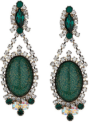 Topshop Premium Emerald and Crystal Drop Earrings