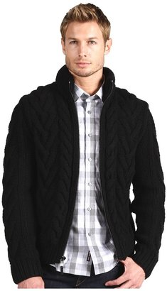 Michael Kors Cable Full Zip with Hood (Black) - Apparel