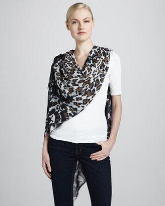 Stella McCartney Leopard-Print Voile Scarf