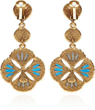 Oscar de la Renta Two-Tone Cabochon Clip-On Drop Earrings