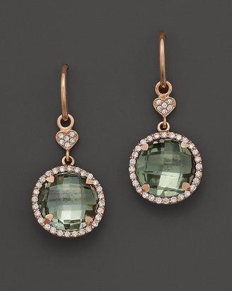 Lisa Nik Prasiolite and Diamond Earrings in 18K Rose Gold