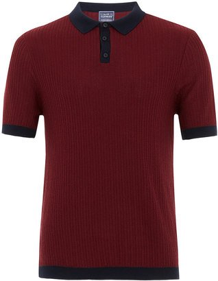 Topman Burgundy Short Sleeve Polo Shirt