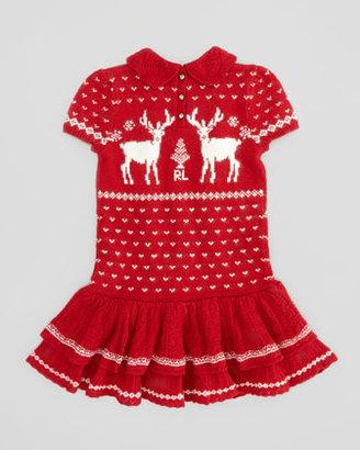 Ralph Lauren Short-Sleeve Reindeer-Knit Dress, Red, 2T-3T