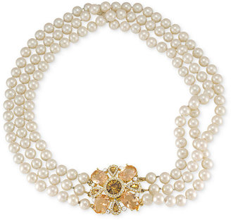 Carolee Necklace, Gold-Tone Glass Pearl Crystal Medallion Three-Row Necklace