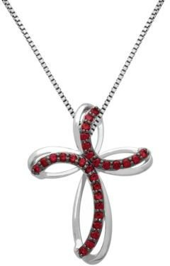 Lord & Taylor Sterling Silver & Garnet Cross Pendant Necklace