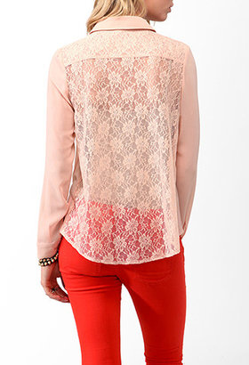 Forever 21 Lace Back Button Up