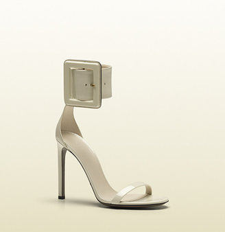 Gucci Victoire Ankle-Strap Sandal With Squared Buckle