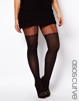 Asos Heart And Bow Suspender Sheer Tights