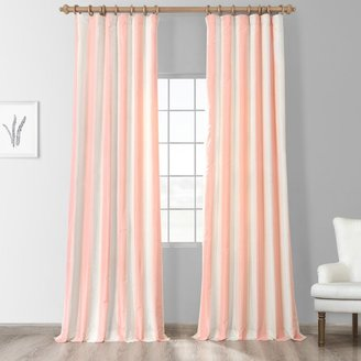 Exclusive Fabrics Pink and Cream Striped Faux Silk Curtain Panel