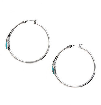 Lucky Brand Feather Hoop Earrings