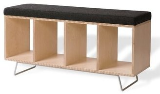Offi Birch Wooden Storage Bench Color: Gray
