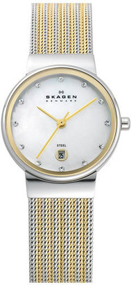Skagen 'Ancher' Round Two-Tone Mesh Watch, 26mm x 32mm $125 thestylecure.com